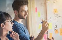 Ein Mann und eine Frau stehen vor einer Tafel und erarbeiten so in einem Workshop gemeinsam Projekte.